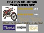 BSA B25 Goldstar 250cc Transfer Decal Set
